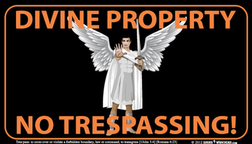 Angel Trespassers Beware of God Indoor Outdoor Sign 10.28 x 17.44