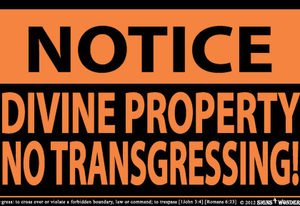 Notice Divine Property No Transgressing Indoor Outdoor Large Sign 10.28 x 17.44 1