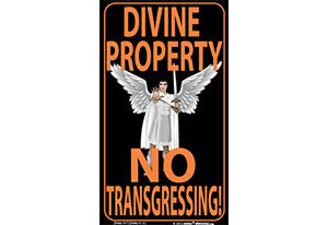 Angel Transgressors Beware of God Indoor Outdoor Sign 10.28 x 17.44 sized